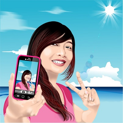The new generation filipino, the millennial filipina taking a selfie, as she is typically self-centred and selfish